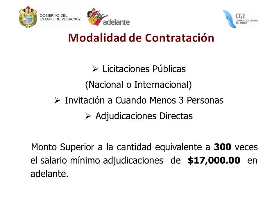 Licitaciones Públicas (Nacional o Internacional) Invitación a Cuando Menos 3 Personas Adjudicaciones Directas Monto Superior a la cantidad equivalente