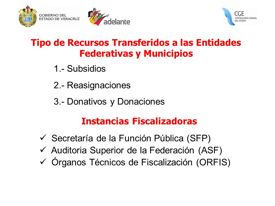 Tipo de Recursos Transferidos a las Entidades Federativas y Municipios 1.- Subsidios 2.- Reasignaciones 3.- Donativos y Donaciones Secretaría de la Fu