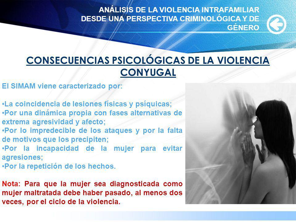 www.themegallery.com CONSECUENCIAS PSICOLÓGICAS DE LA VIOLENCIA CONYUGAL El SIMAM viene caracterizado por: La coincidencia de lesiones físicas y psíqu
