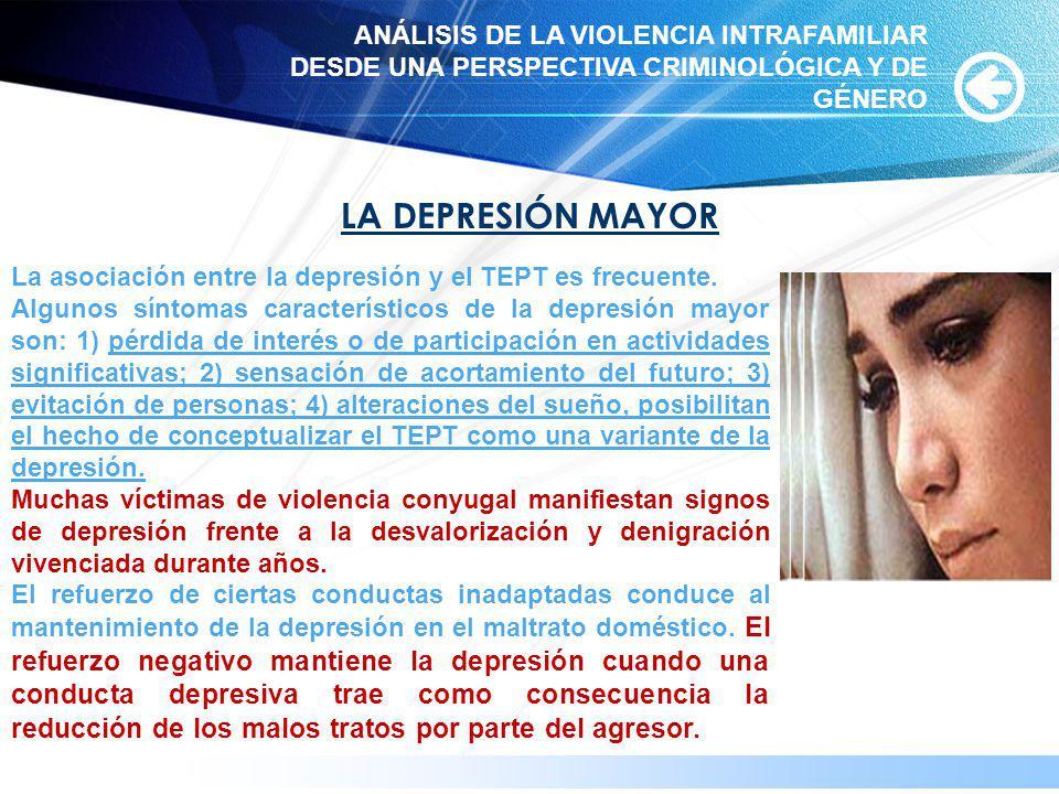 www.themegallery.com LA DEPRESIÓN MAYOR La asociación entre la depresión y el TEPT es frecuente. Algunos síntomas característicos de la depresión mayo