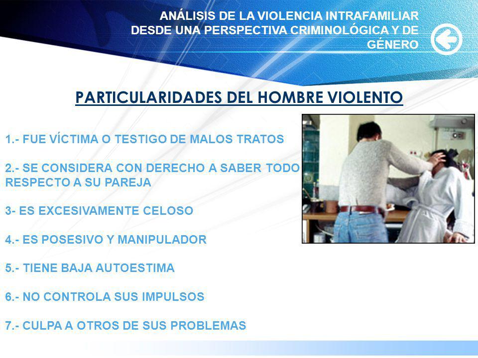 www.themegallery.com PARTICULARIDADES DEL HOMBRE VIOLENTO 1.- FUE VÍCTIMA O TESTIGO DE MALOS TRATOS 2.- SE CONSIDERA CON DERECHO A SABER TODO RESPECTO