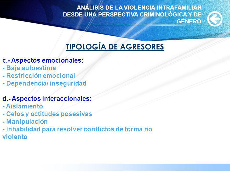 www.themegallery.com TIPOLOGÍA DE AGRESORES c.- Aspectos emocionales: - Baja autoestima - Restricción emocional - Dependencia/ inseguridad d.- Aspecto