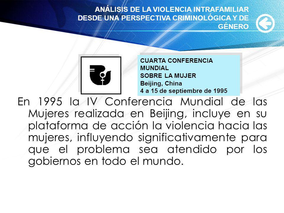 En 1995 la IV Conferencia Mundial de las Mujeres realizada en Beijing, incluye en su plataforma de acción la violencia hacia las mujeres, influyendo s