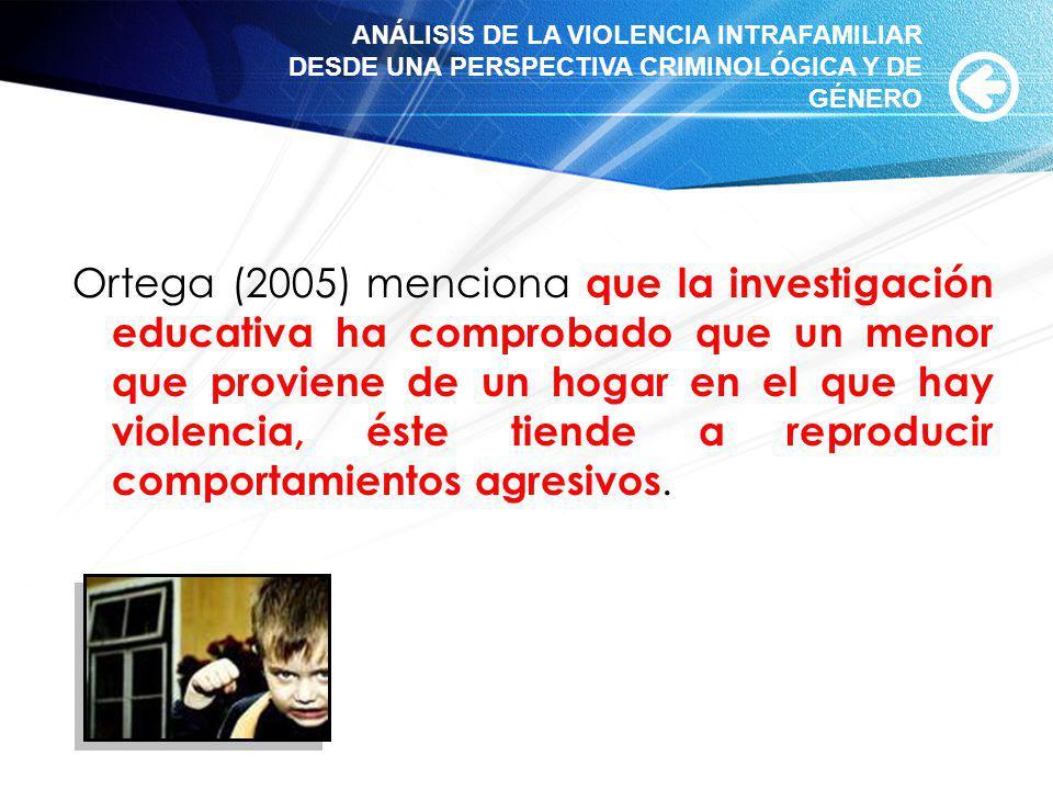 Ortega (2005) menciona que la investigación educativa ha comprobado que un menor que proviene de un hogar en el que hay violencia, éste tiende a repro