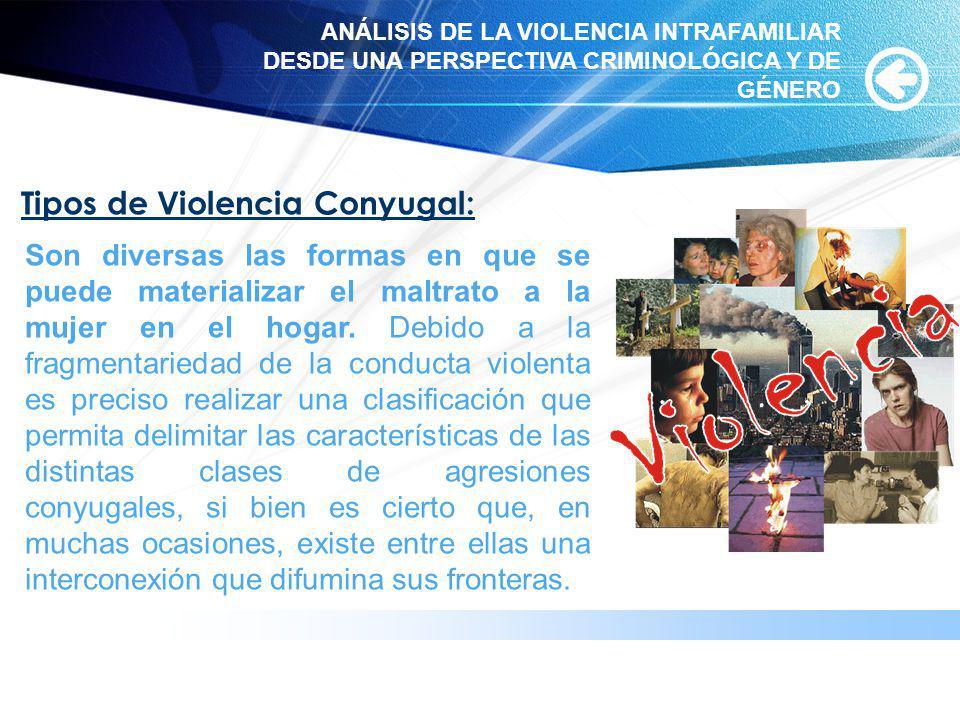 www.themegallery.com Tipos de Violencia Conyugal: Son diversas las formas en que se puede materializar el maltrato a la mujer en el hogar. Debido a la
