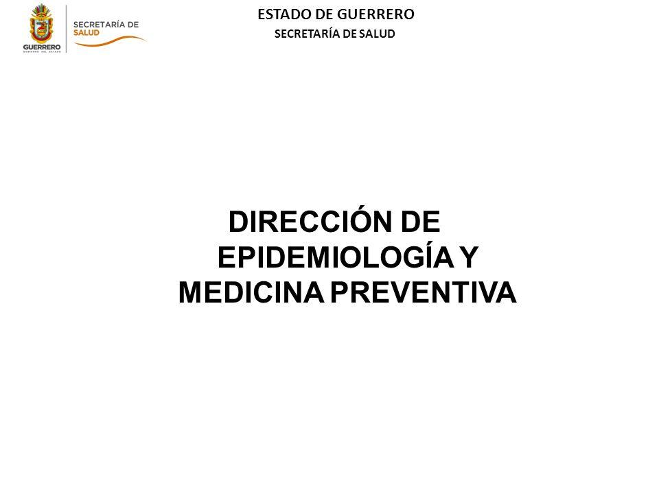 ESTADO DE GUERRERO SECRETARÍA DE SALUD DIRECCIÓN DE EPIDEMIOLOGÍA Y MEDICINA PREVENTIVA