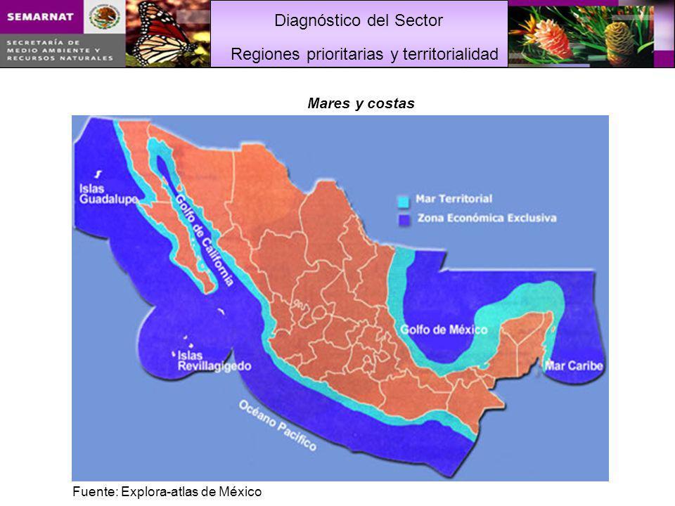 Diagnóstico del Sector Mares y costas Regiones prioritarias y territorialidad Fuente: Explora-atlas de México