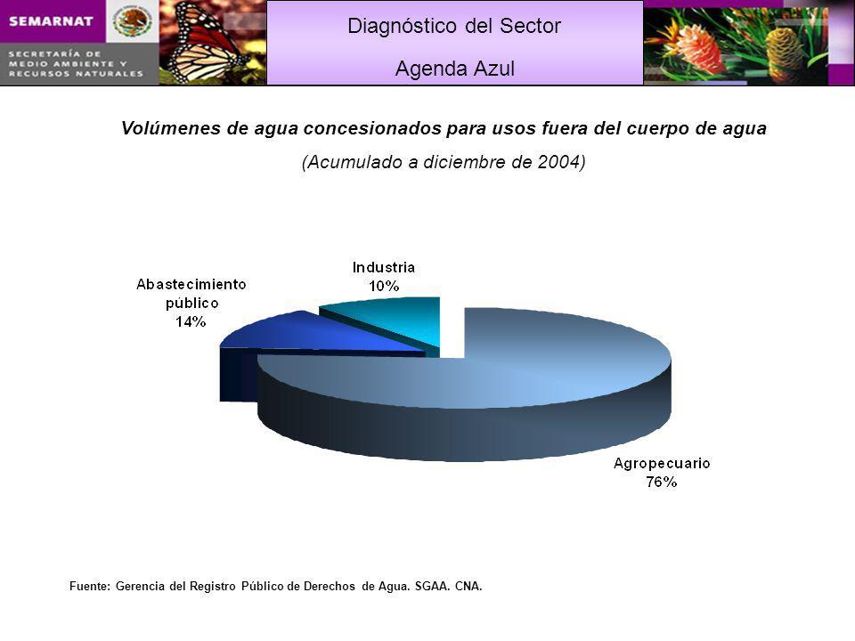 Diagnóstico del Sector Volúmenes de agua concesionados para usos fuera del cuerpo de agua (Acumulado a diciembre de 2004) Fuente: Gerencia del Registro Público de Derechos de Agua.