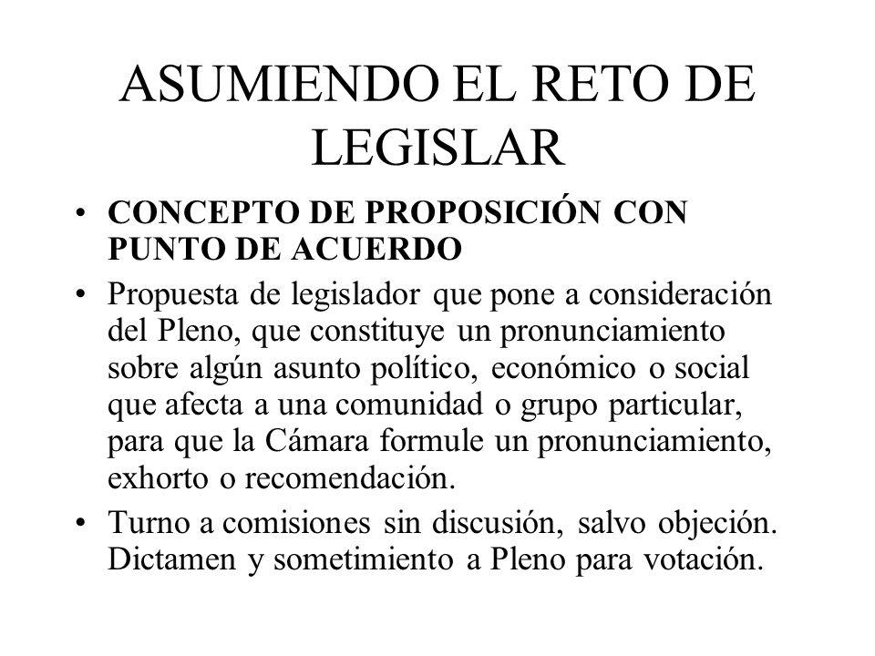 ASUMIENDO EL RETO DE LEGISLAR CONCEPTO DE PROPOSICIÓN CON PUNTO DE ACUERDO Propuesta de legislador que pone a consideración del Pleno, que constituye