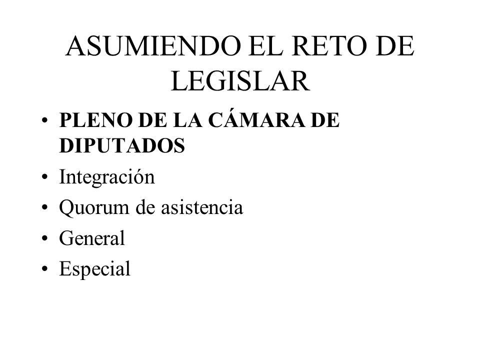ASUMIENDO EL RETO DE LEGISLAR PLENO DE LA CÁMARA DE DIPUTADOS Integración Quorum de asistencia General Especial