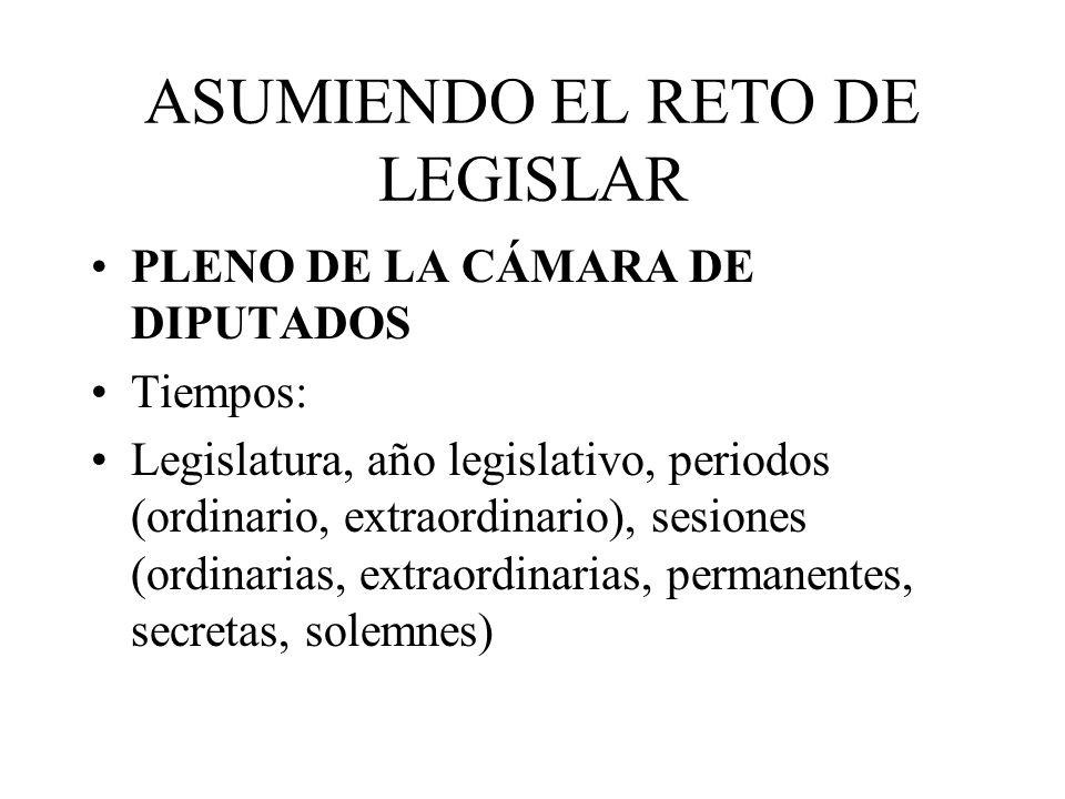 ASUMIENDO EL RETO DE LEGISLAR PLENO DE LA CÁMARA DE DIPUTADOS Tiempos: Legislatura, año legislativo, periodos (ordinario, extraordinario), sesiones (o