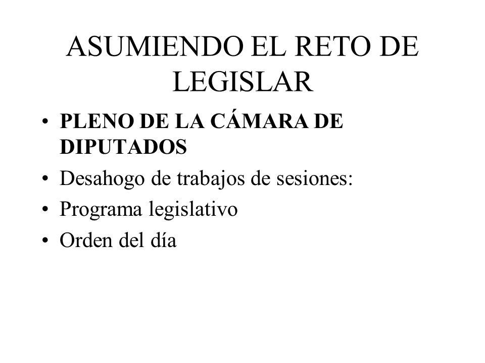 ASUMIENDO EL RETO DE LEGISLAR PLENO DE LA CÁMARA DE DIPUTADOS Desahogo de trabajos de sesiones: Programa legislativo Orden del día
