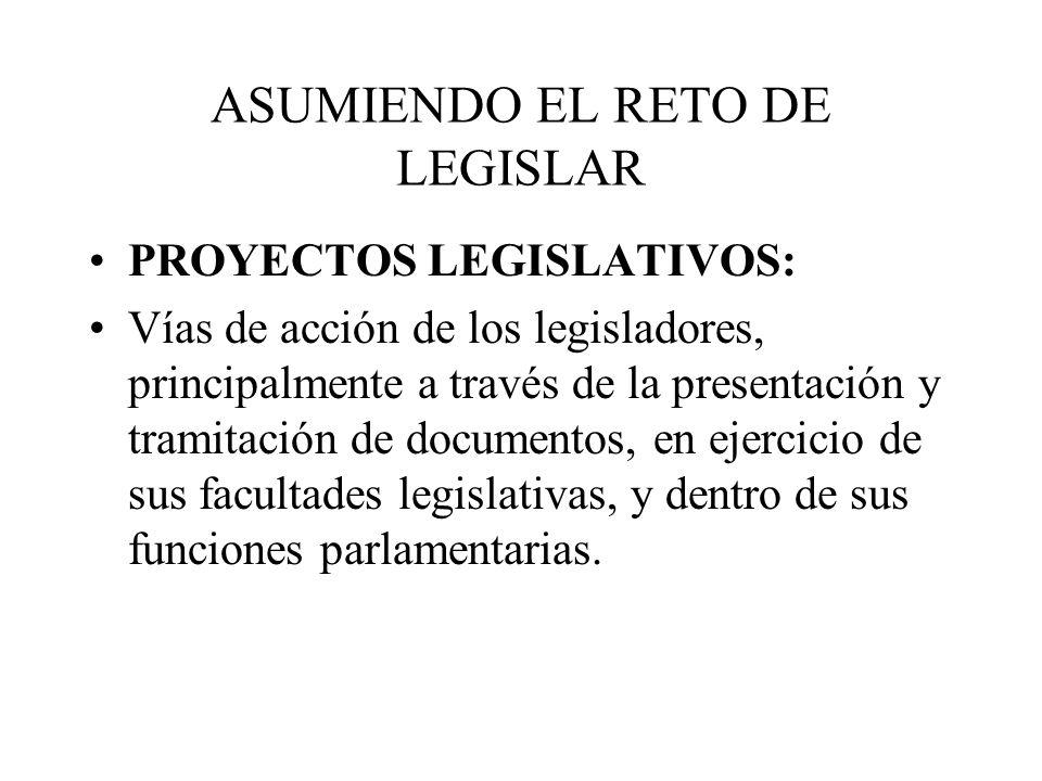 ASUMIENDO EL RETO DE LEGISLAR Facultades de diputados: –Poder jurídico para participar en la creación de normas jurídicas Funciones de diputados: –Función legislativa –Función de control –Función de representación política