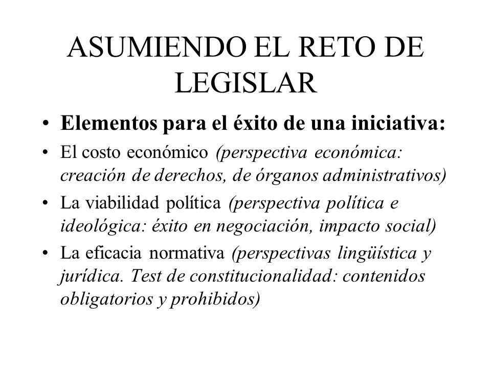 ASUMIENDO EL RETO DE LEGISLAR Elementos para el éxito de una iniciativa: El costo económico (perspectiva económica: creación de derechos, de órganos a