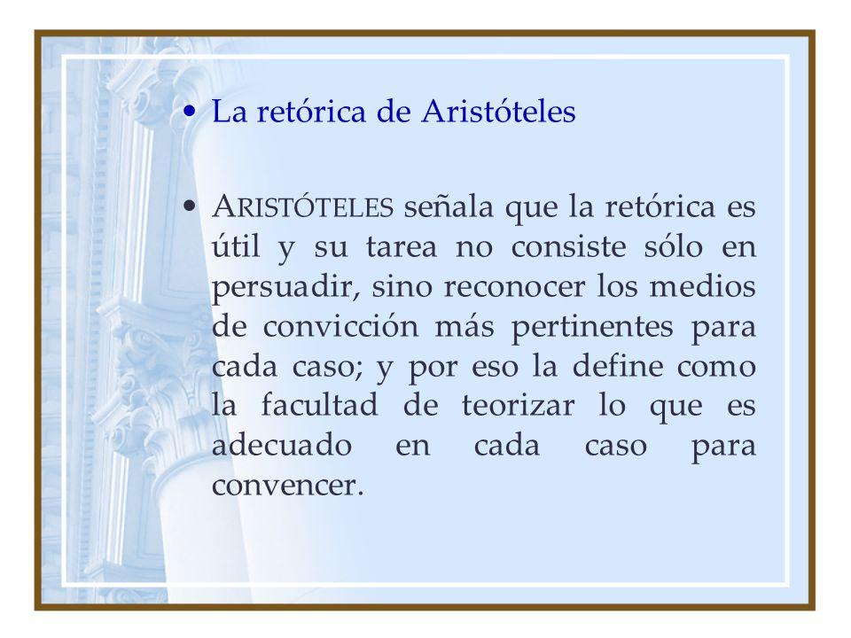 La retórica de Aristóteles A RISTÓTELES señala que la retórica es útil y su tarea no consiste sólo en persuadir, sino reconocer los medios de convicci