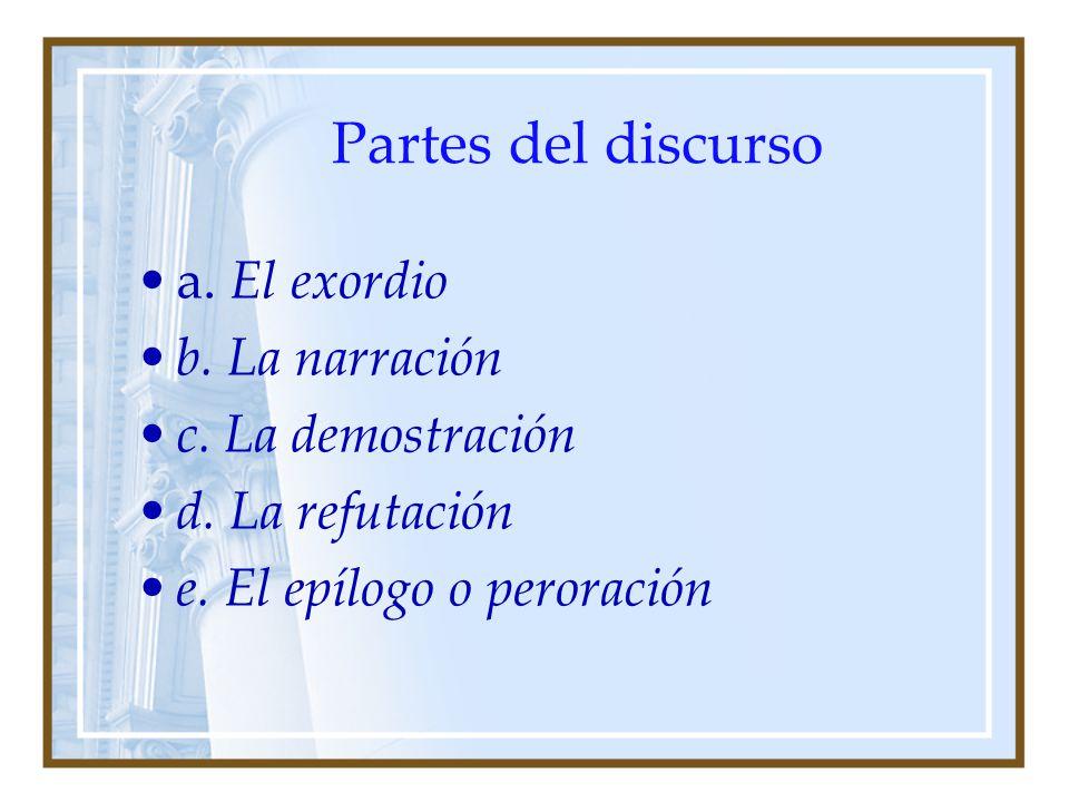 Partes del discurso a. El exordio b. La narración c. La demostración d. La refutación e. El epílogo o peroración