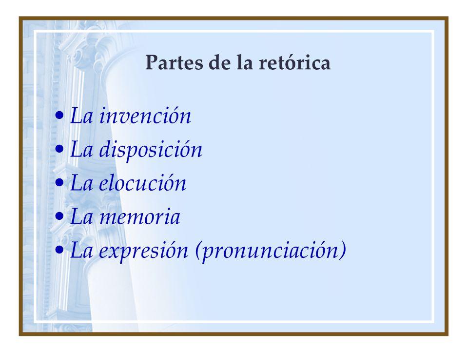 Partes de la retórica La invención La disposición La elocución La memoria La expresión (pronunciación)