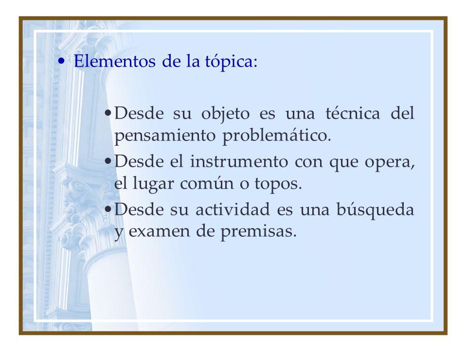 Elementos de la tópica: Desde su objeto es una técnica del pensamiento problemático. Desde el instrumento con que opera, el lugar común o topos. Desde