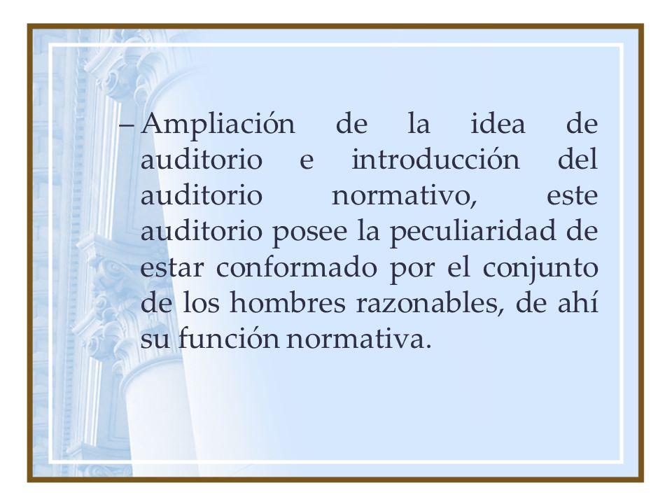 –Ampliación de la idea de auditorio e introducción del auditorio normativo, este auditorio posee la peculiaridad de estar conformado por el conjunto d
