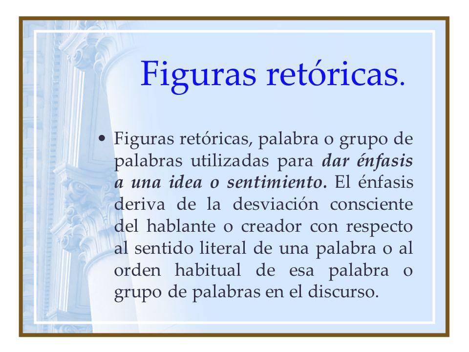 Figuras retóricas. Figuras retóricas, palabra o grupo de palabras utilizadas para dar énfasis a una idea o sentimiento. El énfasis deriva de la desvia