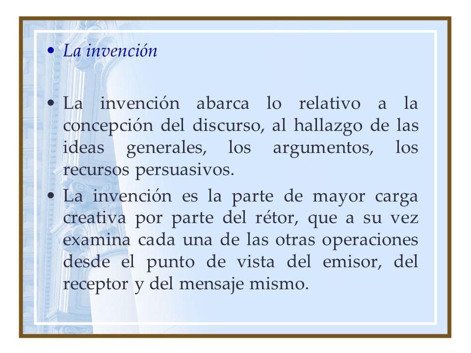 La invención La invención abarca lo relativo a la concepción del discurso, al hallazgo de las ideas generales, los argumentos, los recursos persuasivo