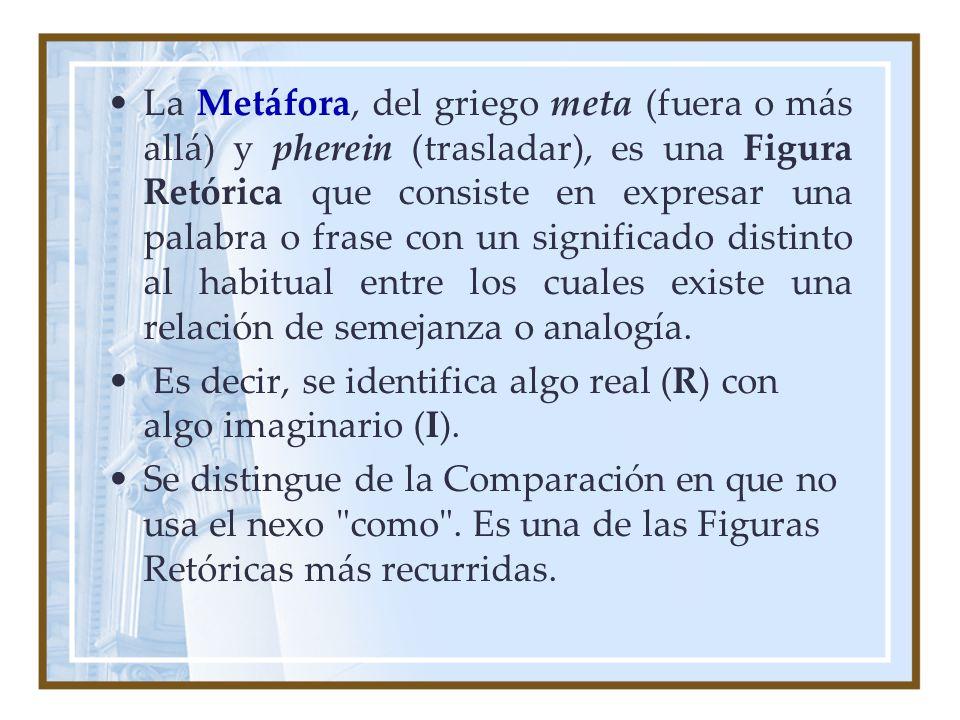 La Metáfora, del griego meta (fuera o más allá) y pherein (trasladar), es una Figura Retórica que consiste en expresar una palabra o frase con un sign