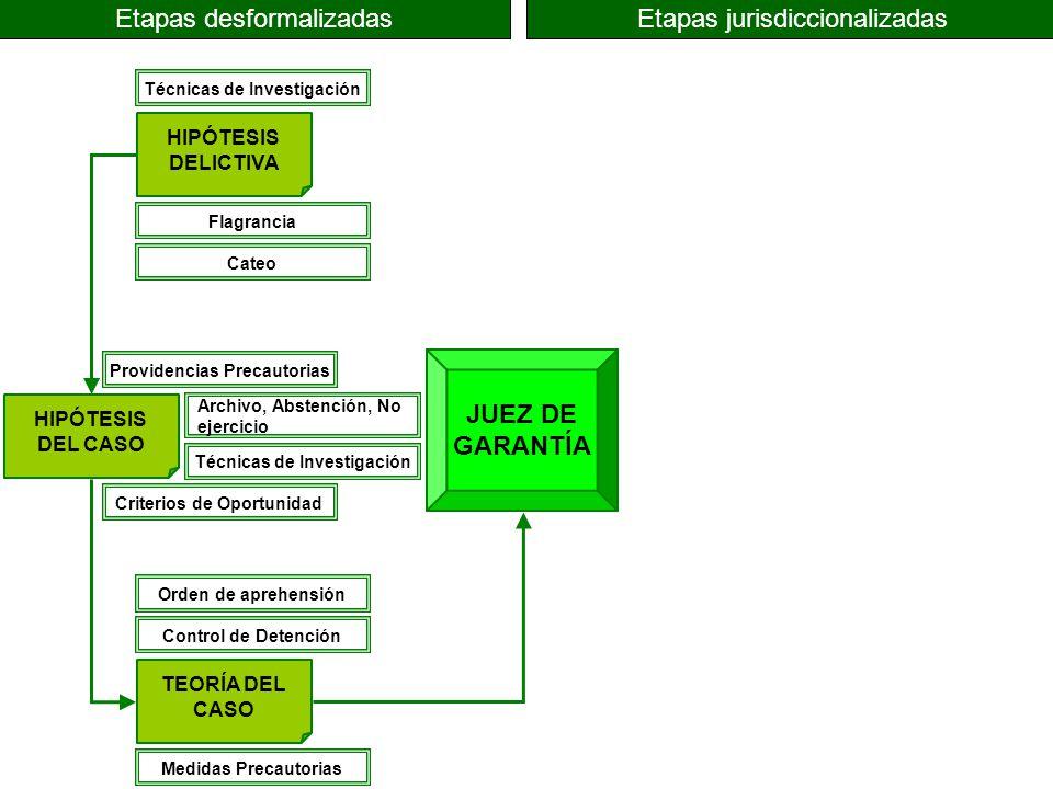 JUEZ DE GARANTÍA HIPÓTESIS DELICTIVA HIPÓTESIS DEL CASO TEORÍA DEL CASO Etapas desformalizadasEtapas jurisdiccionalizadas Técnicas de Investigación Pr