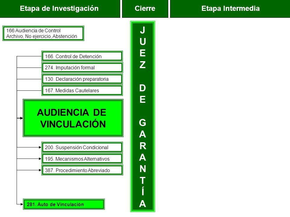 Etapa de InvestigaciónEtapa IntermediaCierre AUDIENCIA DE VINCULACIÓN JUEZDEGARANTÍAJUEZDEGARANTÍA 166 Audiencia de Control Archivo, No ejercicio, Abs