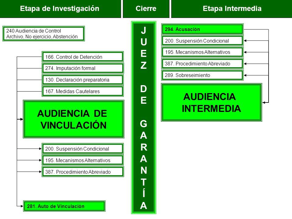 Etapa de InvestigaciónEtapa IntermediaCierre AUDIENCIA DE VINCULACIÓN AUDIENCIA INTERMEDIA JUEZDEGARANTÍAJUEZDEGARANTÍA 240 Audiencia de Control Archi