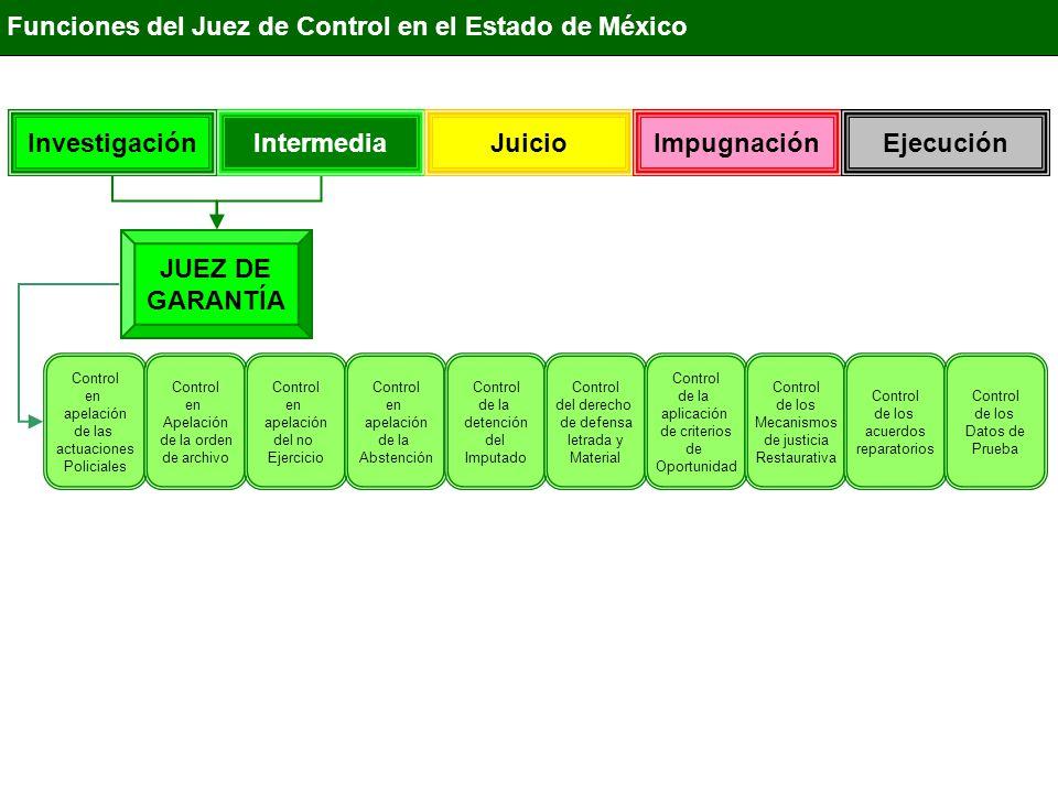 IntermediaInvestigación Juicio ImpugnaciónEjecución Funciones del Juez de Control en el Estado de México JUEZ DE GARANTÍA Control en apelación de las actuaciones Policiales Control en Apelación de la orden de archivo Control en apelación del no Ejercicio Control en apelación de la Abstención Control de la detención del Imputado Control del derecho de defensa letrada y Material Control de la aplicación de criterios de Oportunidad Control de los Mecanismos de justicia Restaurativa Control de los acuerdos reparatorio Ordena por escrito o por teléfono el Cateo Ordena aprehensión del Imputado Celebra audiencia de vinculación a proceso Recibe declaración preparatoria y/o la Confesión de Imputado Ordena y ejecuta Embargo Ordena la prisión preventiva y medidas Cautelares Ordena y controla el plazo de la Investigación Control de los Datos de Prueba Dicta Sentencia de Sobresei- miento Ordena la extinción de la acción Penal Dicta Auto de Vinculación a proceso