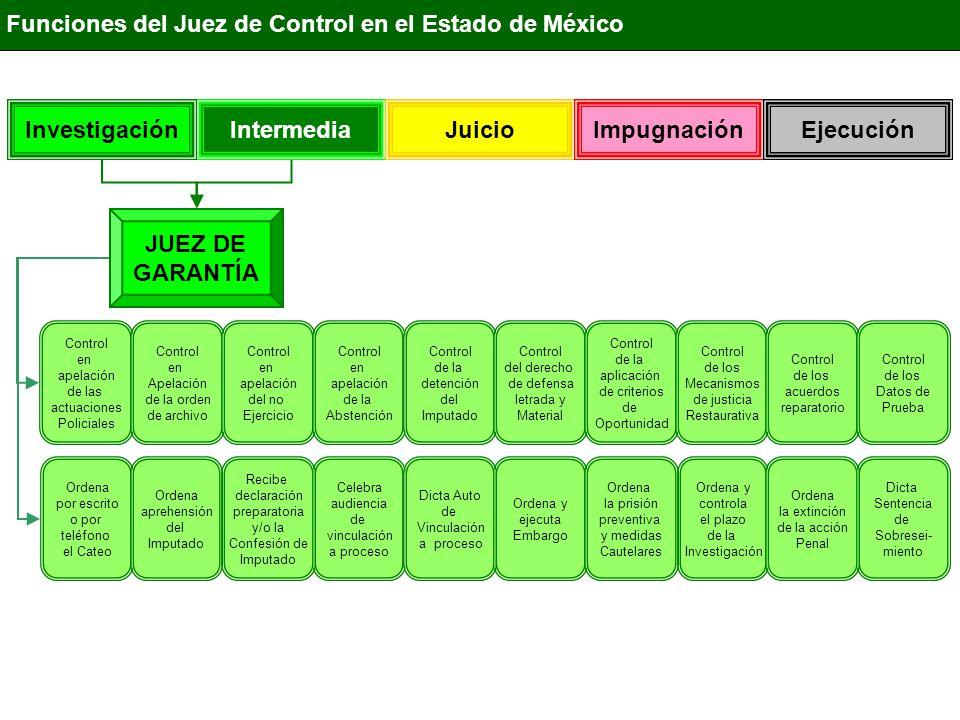 IntermediaInvestigación Juicio ImpugnaciónEjecución Funciones del Juez de Control en el Estado de México JUEZ DE GARANTÍA Control en apelación de las actuaciones Policiales Control en Apelación de la orden de archivo Control en apelación del no Ejercicio Control en apelación de la Abstención Control de la detención del Imputado Control del derecho de defensa letrada y Material Control de la aplicación de criterios de Oportunidad Control de los Mecanismos de justicia Restaurativa Control de los acuerdos reparatorios Ordena por escrito o por teléfono el Cateo Ordena aprehensión del Imputado Celebra audiencia de vinculación a proceso Recibe declaración preparatoria y/o la Confesión de Imputado Ordena y ejecuta Embargo Ordena la prisión preventiva y medidas Cautelares Ordena y controla el plazo de la Investigación Admite, Rechaza o anula los medios de prueba Dicta el Auto de Apertura a Juicio Control de los Datos de Prueba Dicta Sentencia de Sobresei- miento Celebra Audiencia sobre Excepciones Celebra Audiencia para prueba Anticipada Celebra Audiencia de Procedimiento Abreviado Ordena la extinción de la acción Penal Admite o rechaza la Acción penal Privada Celebra Audiencia de Suspensión del proceso A prueba Celebra Audiencia de apertura a juicio Dicta Auto de Vinculación a proceso Celebra Audiencia sobre Nulidades Celebra Audiencias sobre cambios de medidas Cautelares