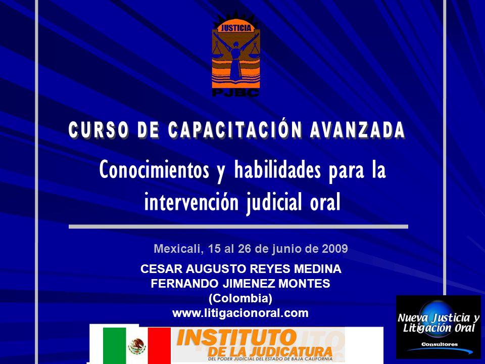 Conocimientos y habilidades para la intervención judicial oral Mexicali, 15 al 26 de junio de 2009 CESAR AUGUSTO REYES MEDINA FERNANDO JIMENEZ MONTES