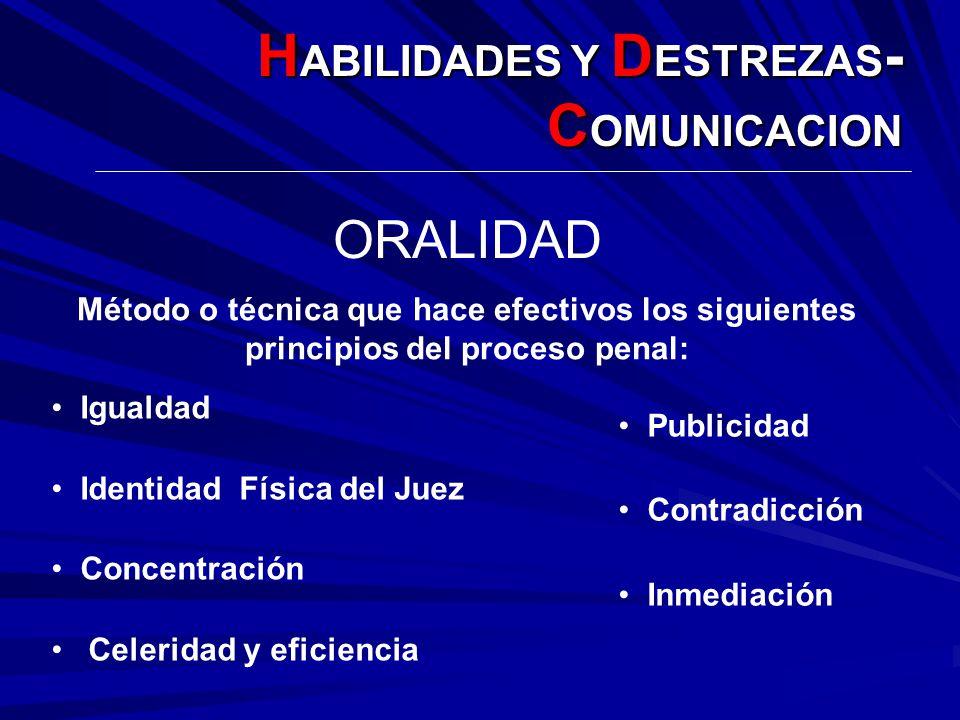 ORALIDAD Método o técnica que hace efectivos los siguientes principios del proceso penal: Publicidad Contradicción Inmediación Igualdad Identidad Físi