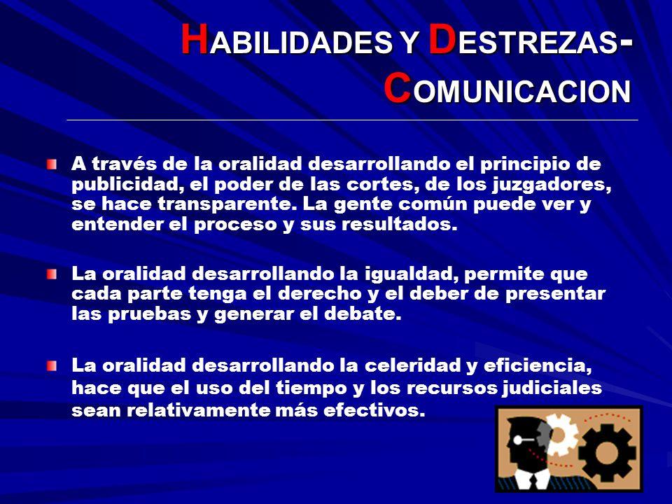 H ABILIDADES Y D ESTREZAS - C OMUNICACION A través de la oralidad desarrollando el principio de publicidad, el poder de las cortes, de los juzgadores,