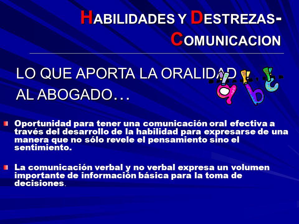 H ABILIDADES Y D ESTREZAS - C OMUNICACION Oportunidad para tener una comunicación oral efectiva a través del desarrollo de la habilidad para expresars