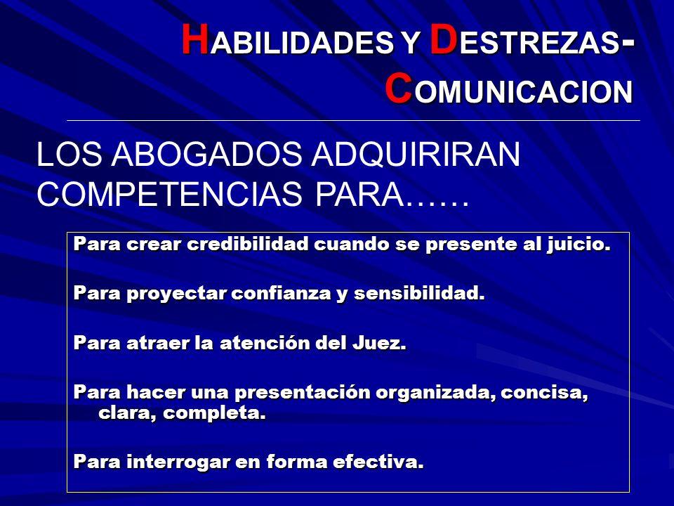H ABILIDADES Y D ESTREZAS - C OMUNICACION Para crear credibilidad cuando se presente al juicio. Para proyectar confianza y sensibilidad. Para atraer l