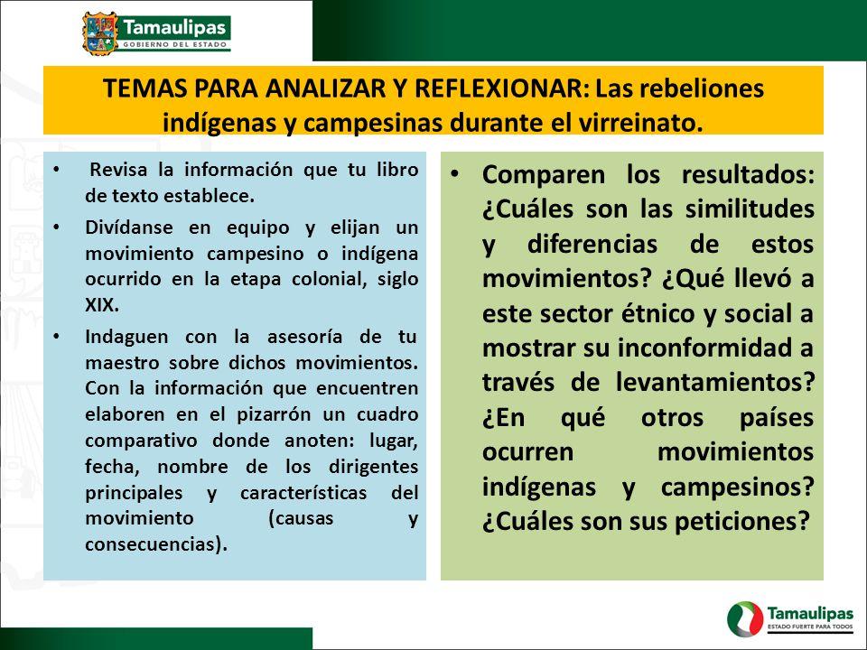 TEMAS PARA ANALIZAR Y REFLEXIONAR: Las rebeliones indígenas y campesinas durante el virreinato. Revisa la información que tu libro de texto establece.