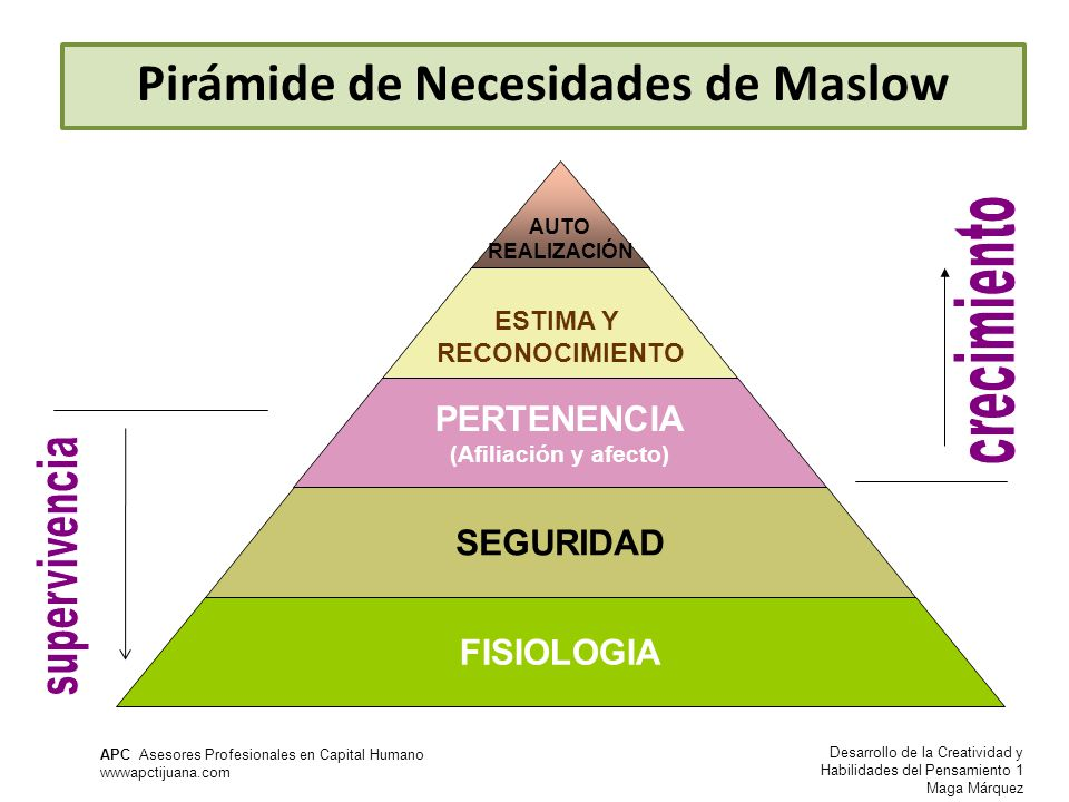 Desarrollo de la Creatividad y Habilidades del Pensamiento 1 Maga Márquez APC Asesores Profesionales en Capital Humano wwwapctijuana.com AUTO REALIZACIÓN ESTIMA Y RECONOCIMIENTO PERTENENCIA (Afiliación y afecto) SEGURIDAD FISIOLOGIA Pirámide de Necesidades de Maslow