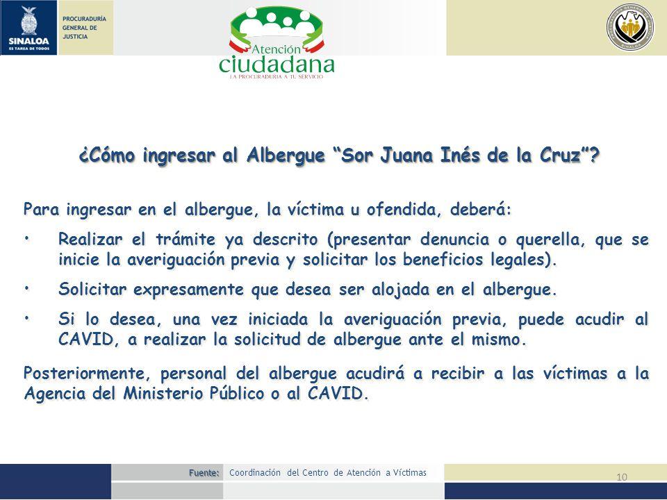 10 ¿Cómo ingresar al Albergue Sor Juana Inés de la Cruz? Posteriormente, personal del albergue acudirá a recibir a las víctimas a la Agencia del Minis