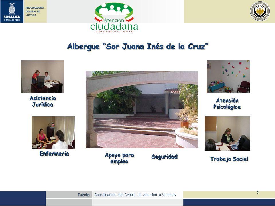 7 Albergue Sor Juana Inés de la Cruz Asistencia Jurídica EnfermeríaEnfermería AtenciónPsicológicaAtenciónPsicológica Trabajo Social Apoyo para empleo