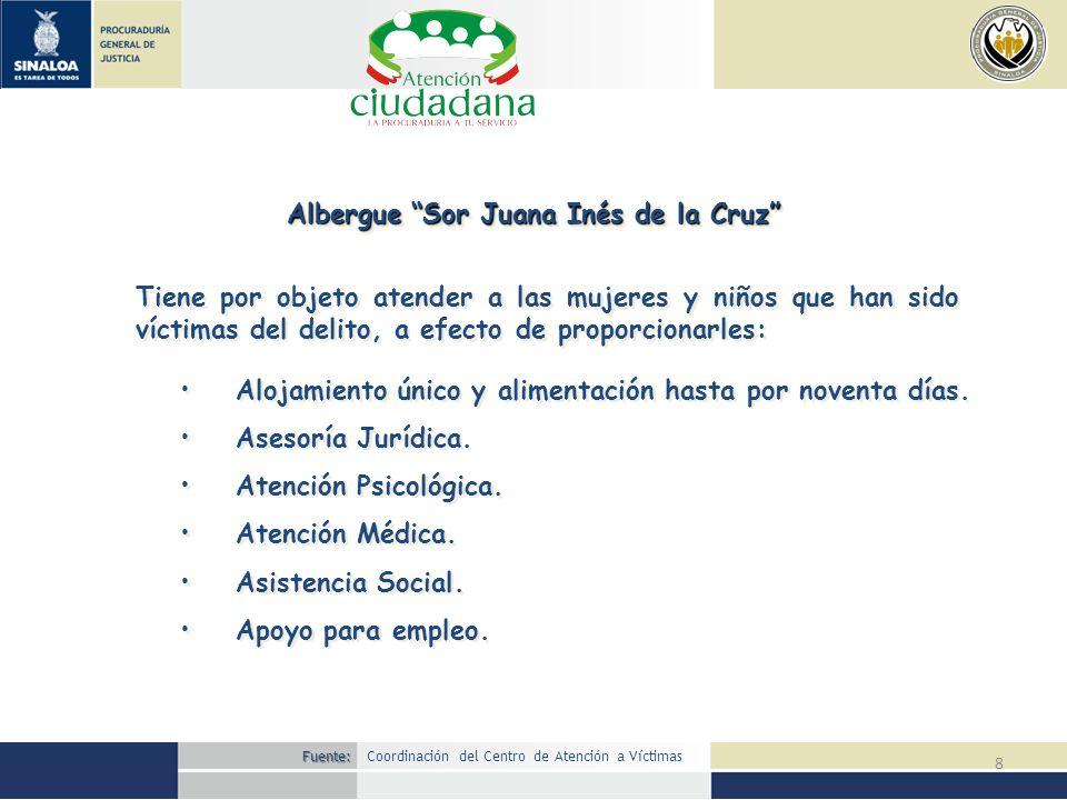 8 Albergue Sor Juana Inés de la Cruz Tiene por objeto atender a las mujeres y niños que han sido víctimas del delito, a efecto de proporcionarles: Alo