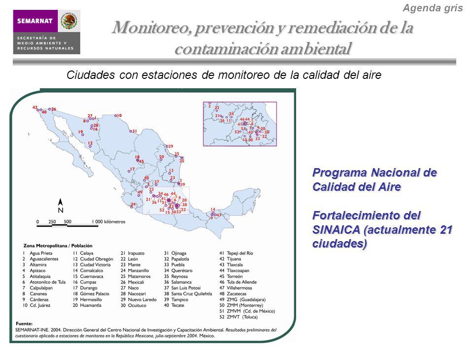 Ciudades con estaciones de monitoreo de la calidad del aire Monitoreo, prevención y remediación de la contaminación ambiental Agenda gris Programa Nacional de Calidad del Aire Fortalecimiento del SINAICA (actualmente 21 ciudades)