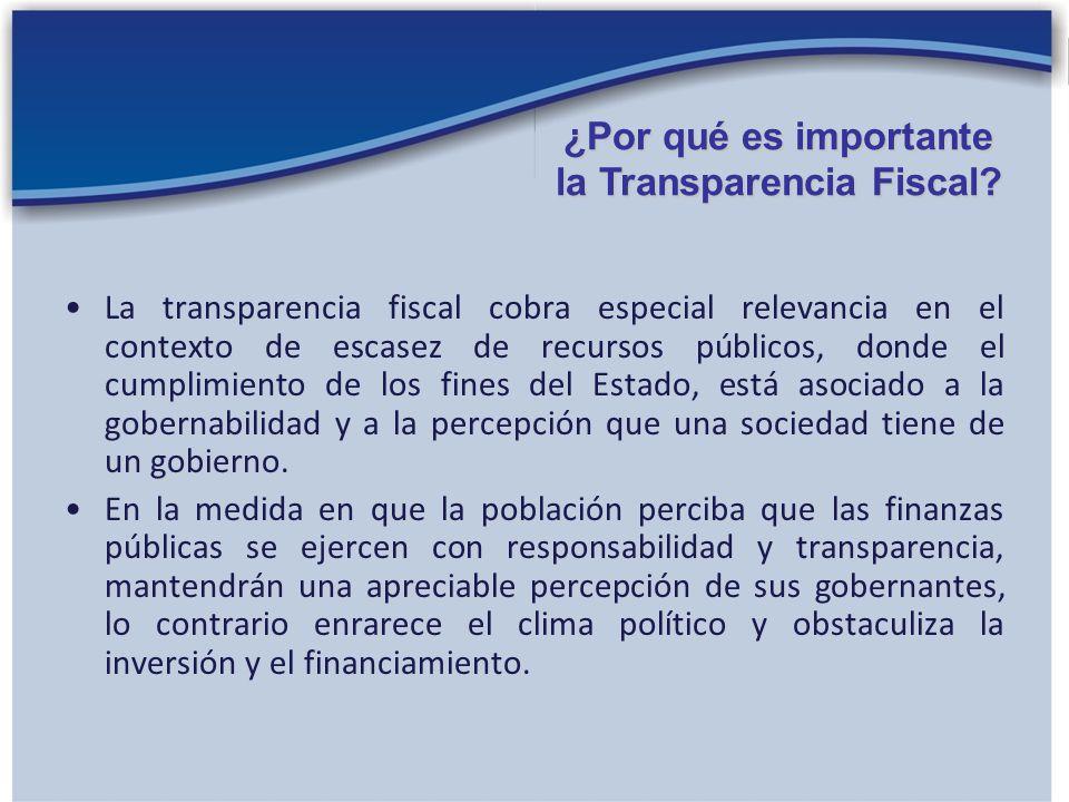 La transparencia fiscal cobra especial relevancia en el contexto de escasez de recursos públicos, donde el cumplimiento de los fines del Estado, está