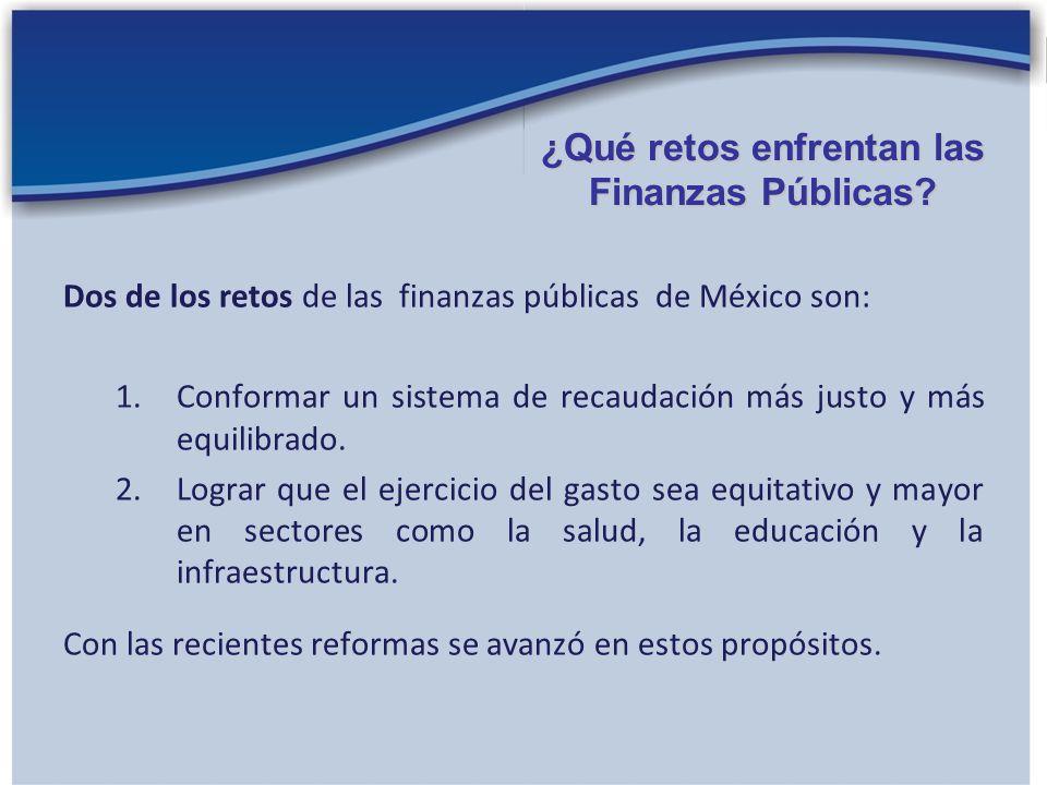 Dos de los retos de las finanzas públicas de México son: 1.Conformar un sistema de recaudación más justo y más equilibrado. 2.Lograr que el ejercicio