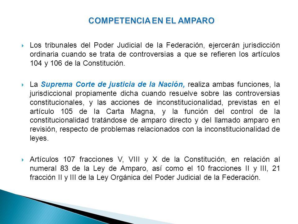 Los tribunales del Poder Judicial de la Federación, ejercerán jurisdicción ordinaria cuando se trata de controversias a que se refieren los artículos