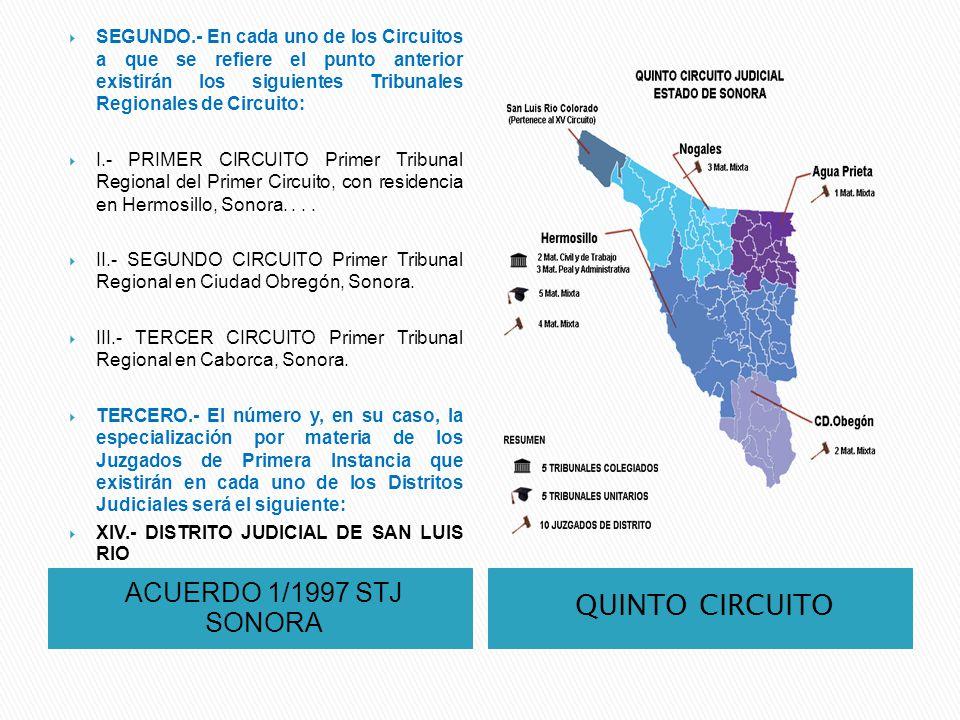 ACUERDO 1/1997 STJ SONORA QUINTO CIRCUITO SEGUNDO.- En cada uno de los Circuitos a que se refiere el punto anterior existirán los siguientes Tribunale