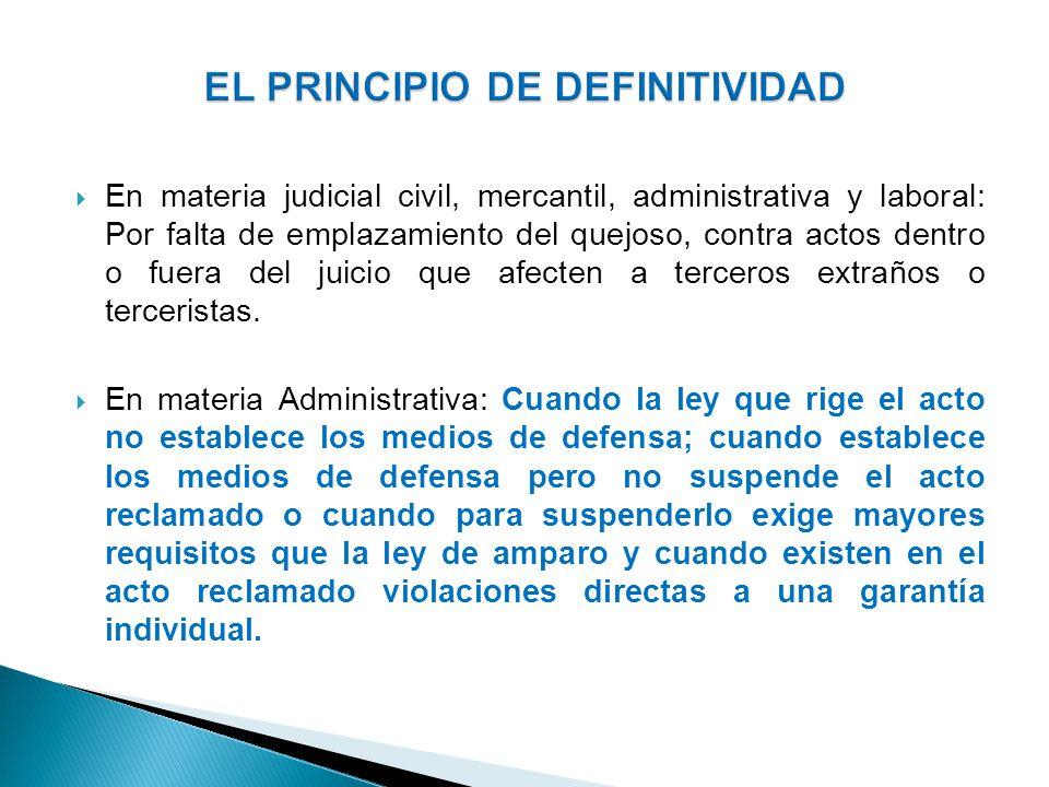 En materia judicial civil, mercantil, administrativa y laboral: Por falta de emplazamiento del quejoso, contra actos dentro o fuera del juicio que afe