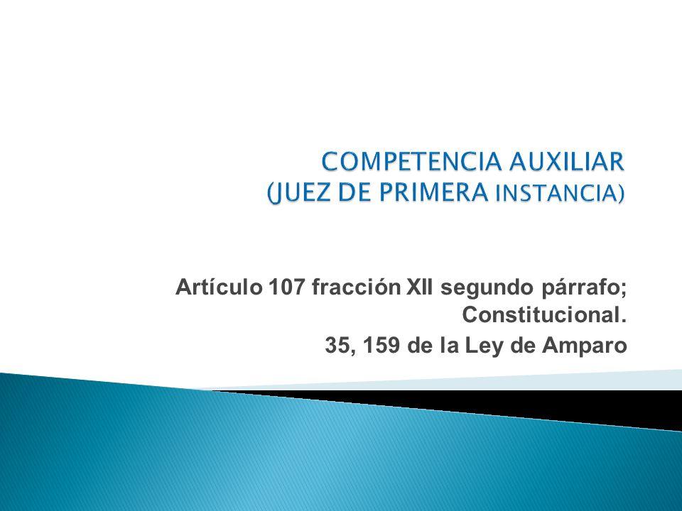 Artículo 107 fracción XII segundo párrafo; Constitucional. 35, 159 de la Ley de Amparo