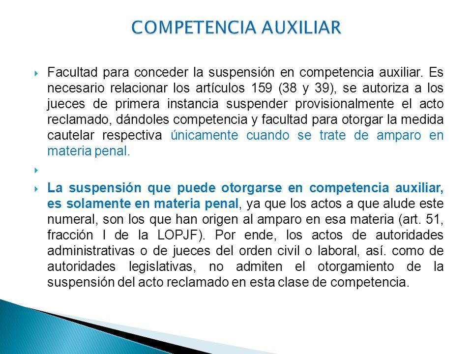 Facultad para conceder la suspensión en competencia auxiliar. Es necesario relacionar los artículos 159 (38 y 39), se autoriza a los jueces de primera