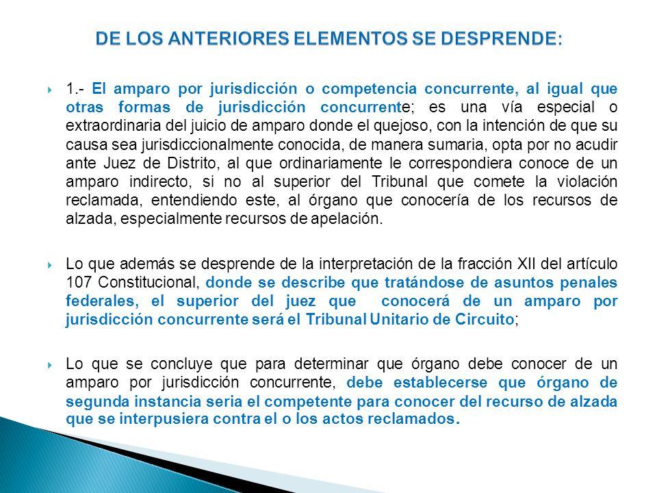 1.- El amparo por jurisdicción o competencia concurrente, al igual que otras formas de jurisdicción concurrente; es una vía especial o extraordinaria